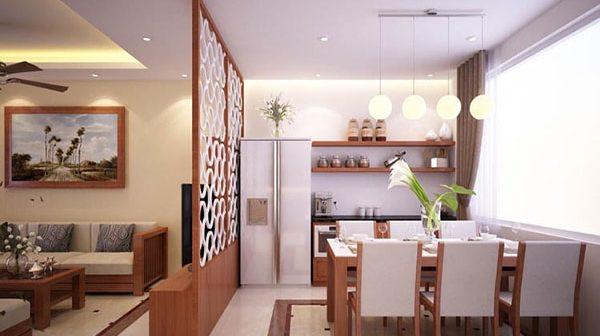 Mẫu vách ngăn CNC phòng khách và phòng bếp sang trọng