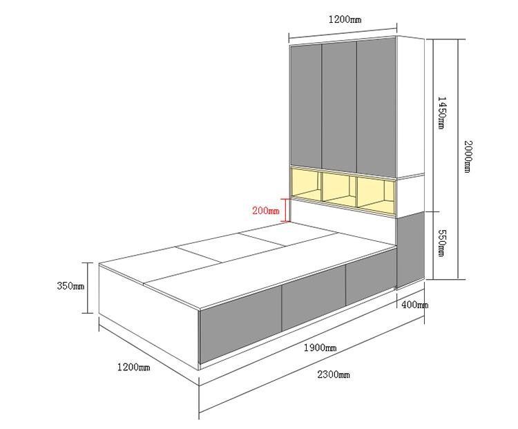 Kích thước giường ngủ kết hợp với tủ mã GN04