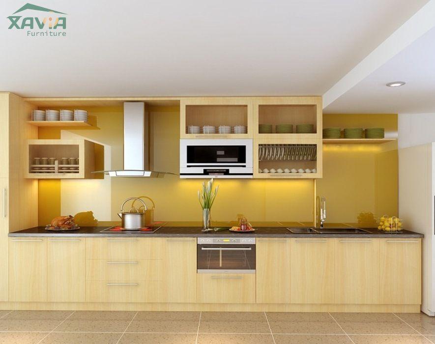 Tủ bếp gỗ nhựa Picomat trắng sáng hiện đại