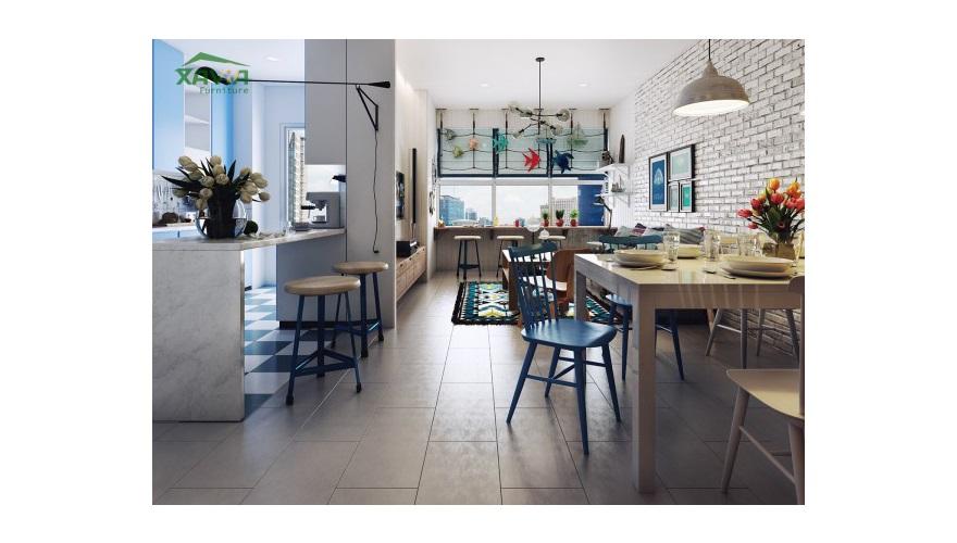 Thiết kế nội thất chung cư đẹp nổi bật màu xanh nước biển tại TP Hồ Chí Minh